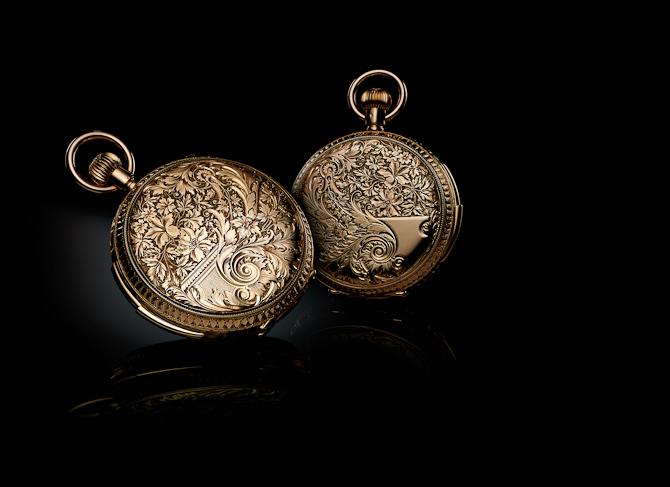 Uden guld - ingen finere lommeure. Her et graveret Jaeger-LeCoultre lommeur. Foto: Jaeger-LeCoultre
