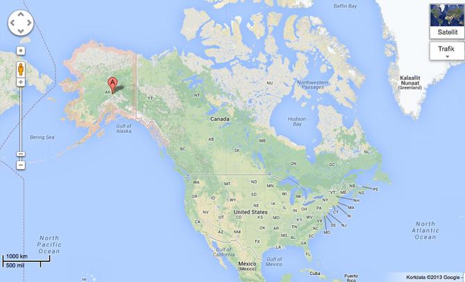 Det er ved den røde plet, Jimmy befandt sig. Foto: Google maps