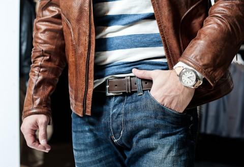 Tripple læder i form af bælte, jakke og urrem