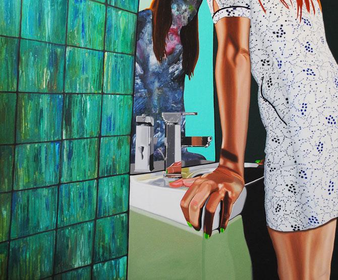 Delusional Self Mythology 1, 2014 (Detalje) Olie på lærred, 150 x 150 cm. (med håndvasken)