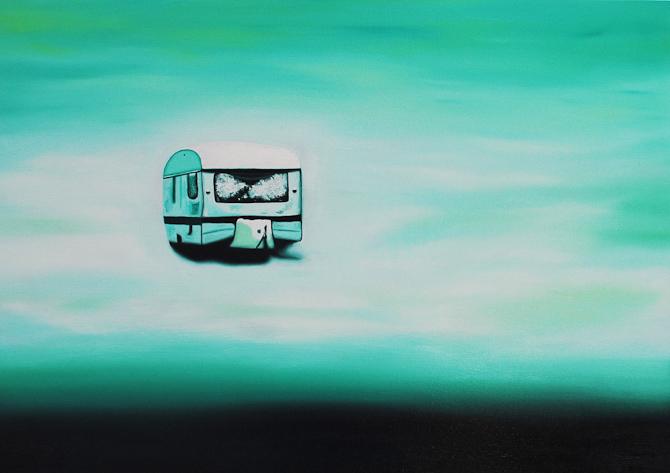 Delusional Self Mythology 3, 2014  Olie på lærred, 50 x 70 cm. (Campingvogn)