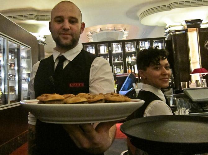 Mini burgers & staff