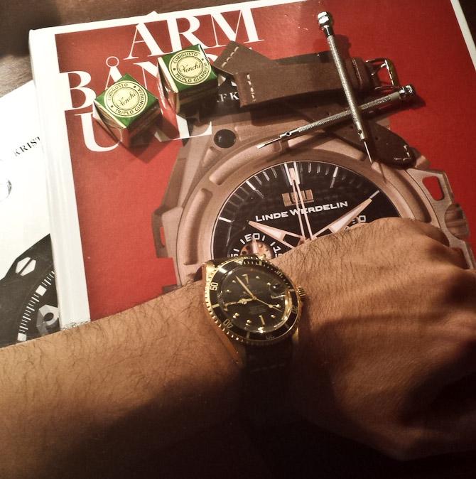 Mourad med vintage guldklokke fra Rolex