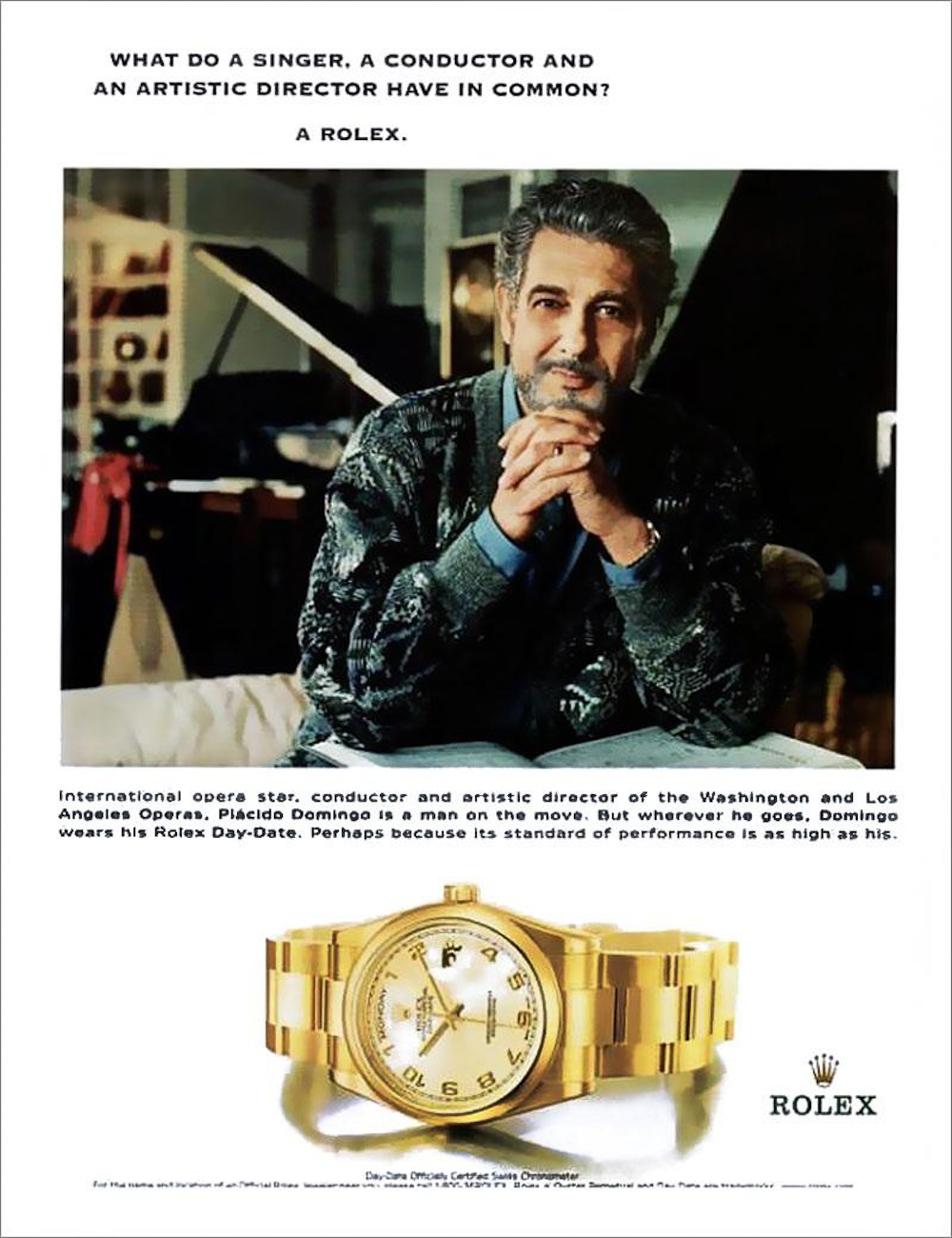 Placido Domingo i et kommercielt fremstød for et Rolex Day-Date