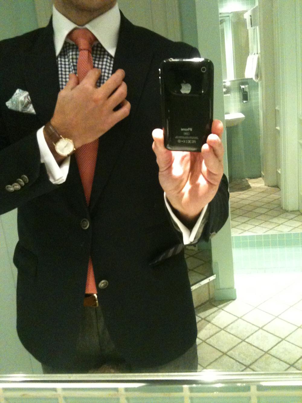 Jeg fik rettet slipset på Hotel D'Angleterre.