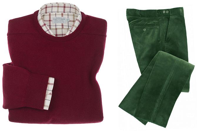 Vinrød striktrøje og flaskegrønne fløjlsbukser