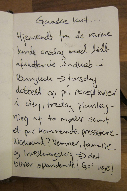 Meta agtigt. Tekst om den korte uge. Skrevet i hånden.