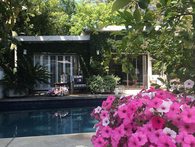 Hjemme lørdag eftermiddag i haven i mit hus. Sad og læste avisen ved poolen. Det er start oktober, og vi havde 33 grader.