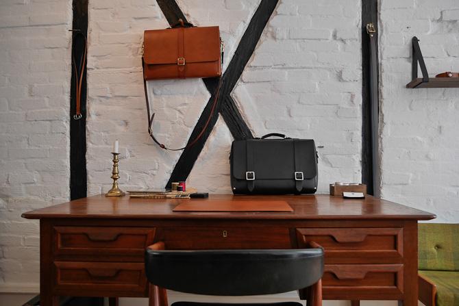 Bindingsværk og tasker til forretningsfolk
