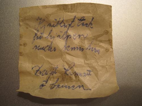 """""""Hjärtligt tack för hjælpen (ulæseligt ord) semestern Birgit, Lennart o barnen"""""""