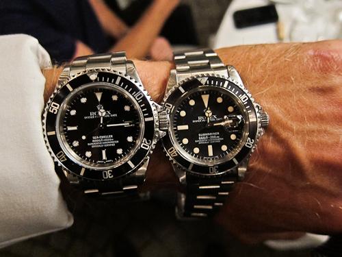 Halløj med ure i form af Sea-Dweller til venstre og Submariner til højre. Vidt forskellige årgange dog.