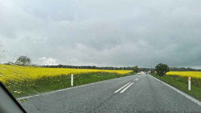 Gule marker og regn på ruden