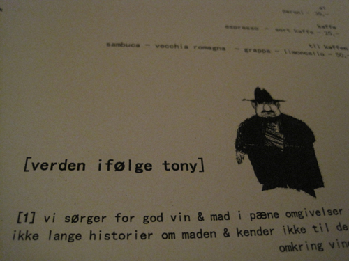 Et at de fire mantraer hos Tony's...